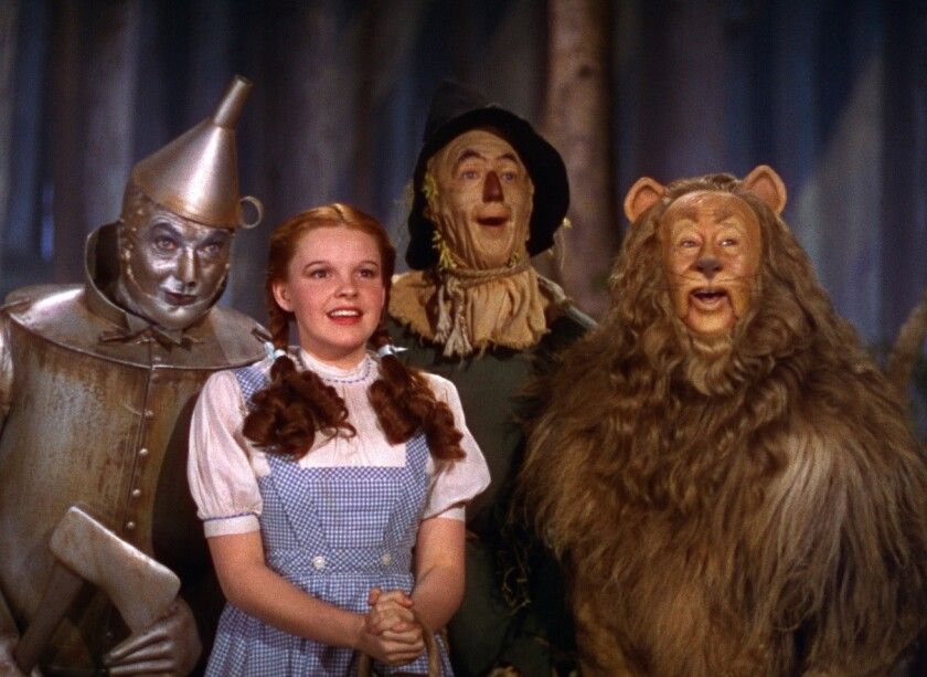 "Jack Haley, left, Judy Garland, Ray Bolger and Bert Lahr in ""The Wizard of Oz."""