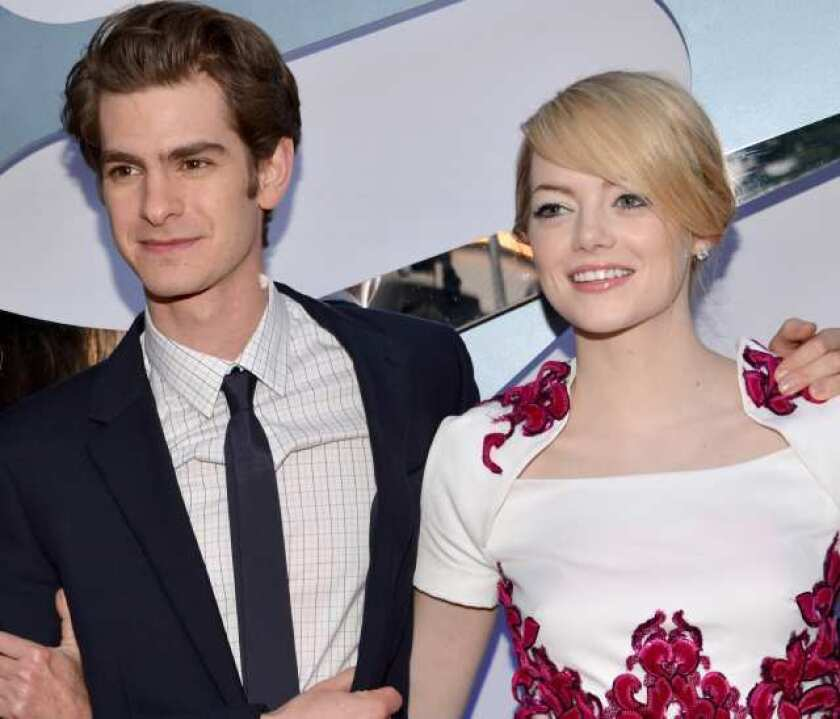 """Andrew Garfield and Emma Stone talks about """"The Amazing Spider-Man"""" at the film's Los Angeles premiere."""