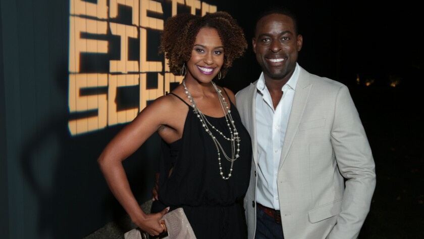 Ryan Michelle Bathe and Sterling K. Brown at Brian and Veronica Grazer's home.