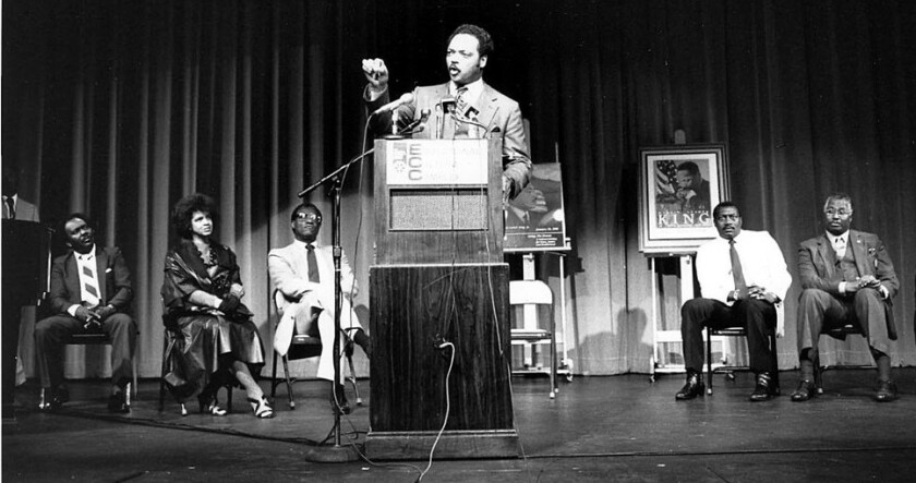Rev. Jesse Jackson spoke at the Educational Cultural Complex theater in 1987.