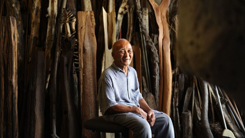 COMPTON, CALIFORNIA JULY 6, 2016-Sculptor Kenzi Shiokava sits in his studio in Compton. Shiokava's