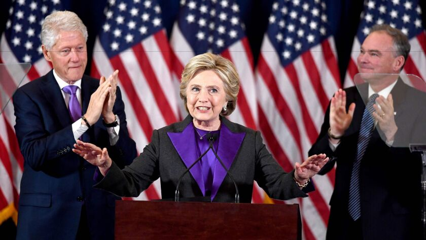 U.S. Democratic presidential candidate Hillary Clinton makes a concession speech after being defeated by Republican presidential-elect Donald Trump.