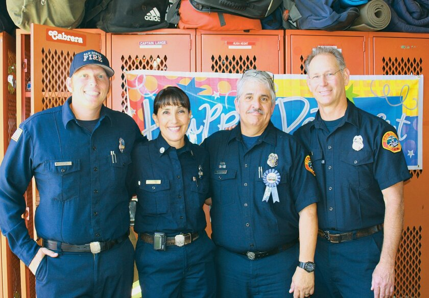 Firefighters at la Jolla Station 13: Sean Bramir, Captain Maria Cabrera, Brian Kidwell and Anthony Wheeler