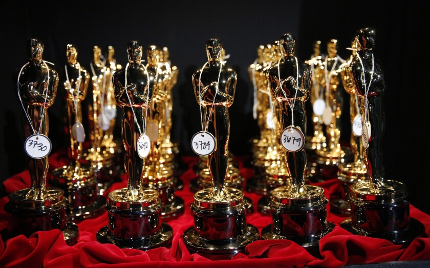 Oscar statuettes backstage at the 86th Annual Academy Awards on Sunday, March 2, 2014