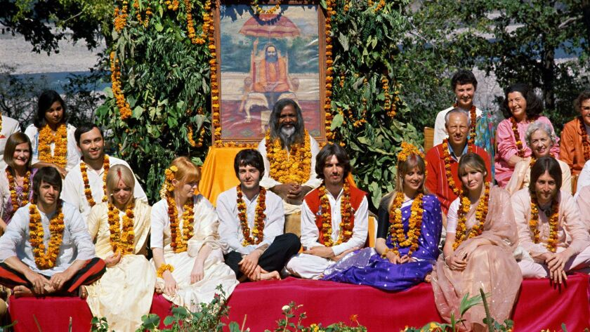 The Beatles with their wives and girlfriends in 1968 at an ashram in Rishikesh, India.(Copyright Pau