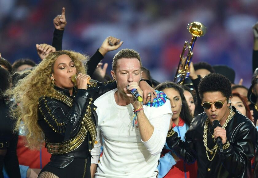 Beyonce, Chris Martin and Bruno Mars