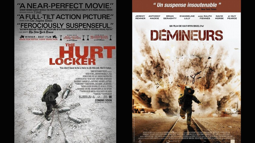 """The Hurt Locker"" had U.S. artwork that was suggestive of internal turmoil. The French were less interested in the nuances of war, preferring to be told it was an action film."