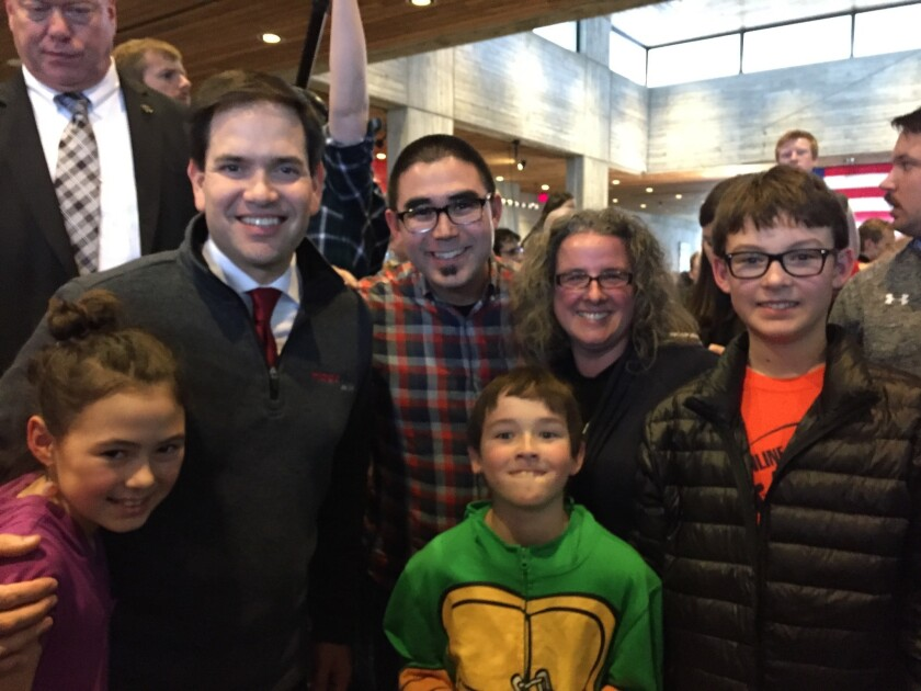 Sen. Marco Rubio with the Searles family