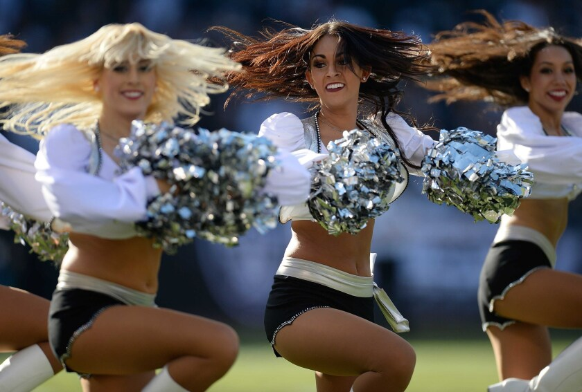 The Oakland Raiderettes perform during a game in Oakland against the Tennessee Titans in November. After two wage theft lawsuits were filed against the team, the Raiders have dramatically increased cheerleader wages for the 2015-15 season.