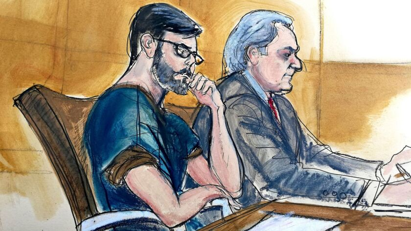 A courtroom sketch shows former Martin Shkreli, left, seated next to defense lawyer Ben Brafman on Feb. 23 in New York.