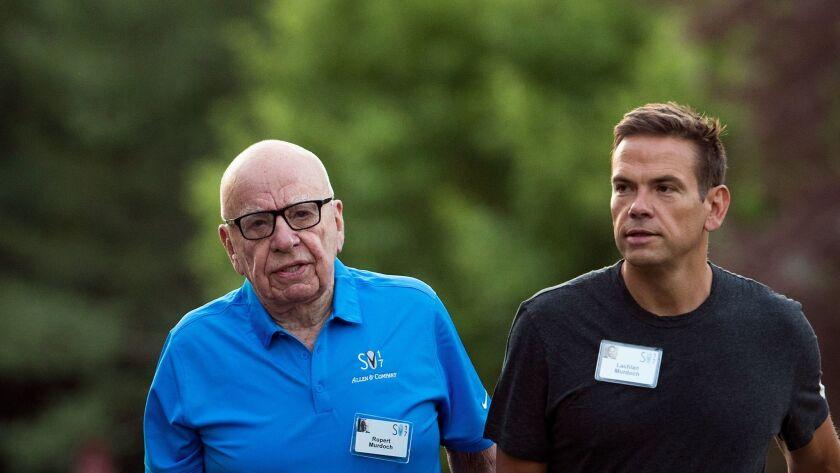 Rupert Murdoch, left, and Lachlan Murdoch, executive chairmen of 21st Century Fox, in July.