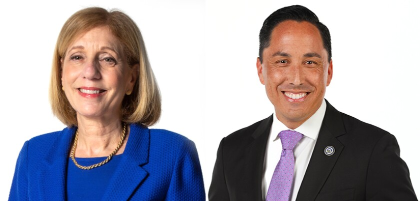 San Diego mayoral race candidates Councilwoman Barbara Bry and Assemblyman Todd Gloria