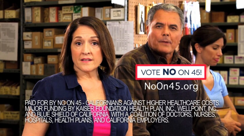 An ad in opposition of Proposition 45 by Californians Against Higher Health Care Costs. Proposition 45 would give California's elected insurance commissioner new powers to deny insurer requests for rate increases, if deemed excessive.