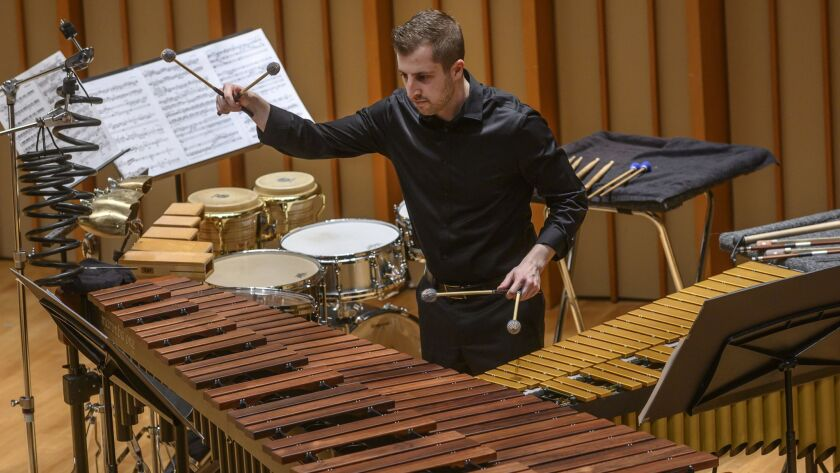 "Guest percussionist Jeff Grant performs William Kraft's ""Concerto for Percussion and Chamber Ensembl"
