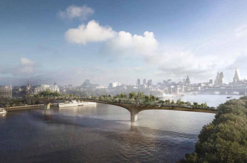 A rendering of Thomas Heatherwick's design of the Garden Bridge in London.