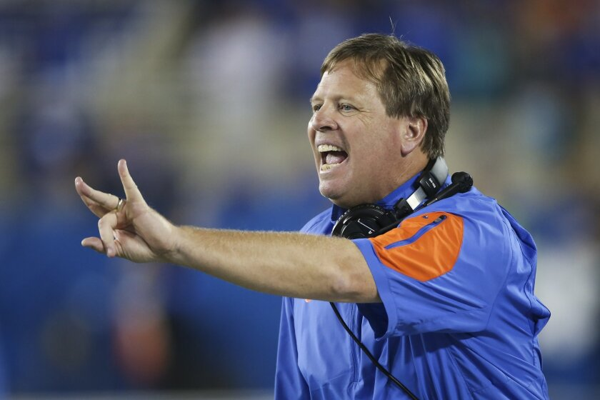 "FILE - In this Sept. 19, 2015, file photo, Florida head coach Jim McElwain instructs his team during the second half of an NCAA college football game against Kentucky, in Lexington, Ky. McElwain wants his team to continue ""the discovery.""It's his way of trying to keep the eighth-ranked Gators (9-1) humble, hungry and honed in on the next task at hand, which is Saturday against heavy underdog Florida Atlantic (2-8) in the Swamp. (AP Photo/David Stephenson, File)"