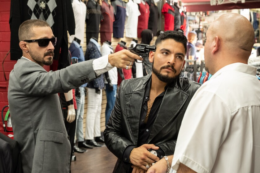 """Shia LaBeouf, left, and Bobby Soto star in the Mexican American crime drama """"The Tax Collector,"""" directed by David Ayer."""