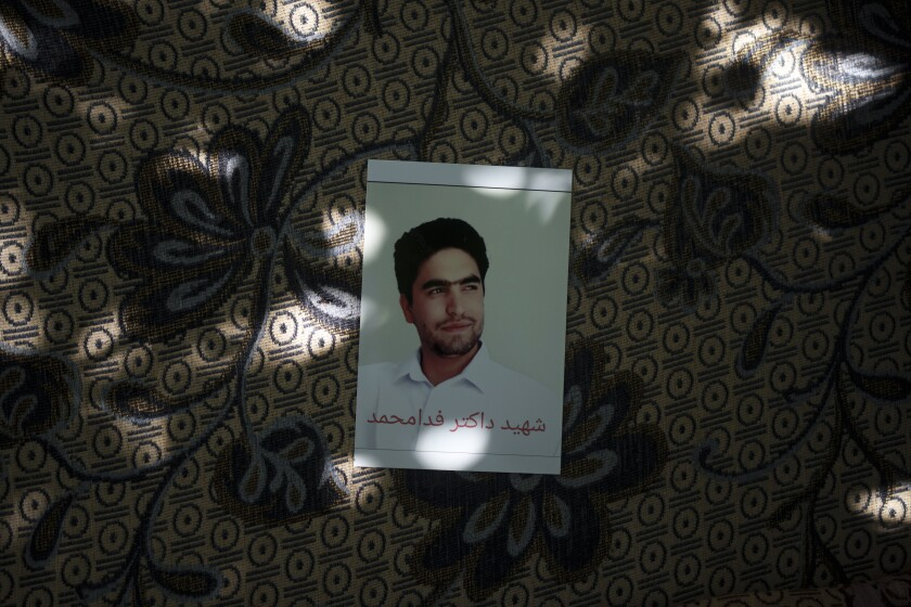 A portrait of Fida Mohammad, who died after falling from a U.S. Air Force plane departing the airport in Kabul, Afghanistan.