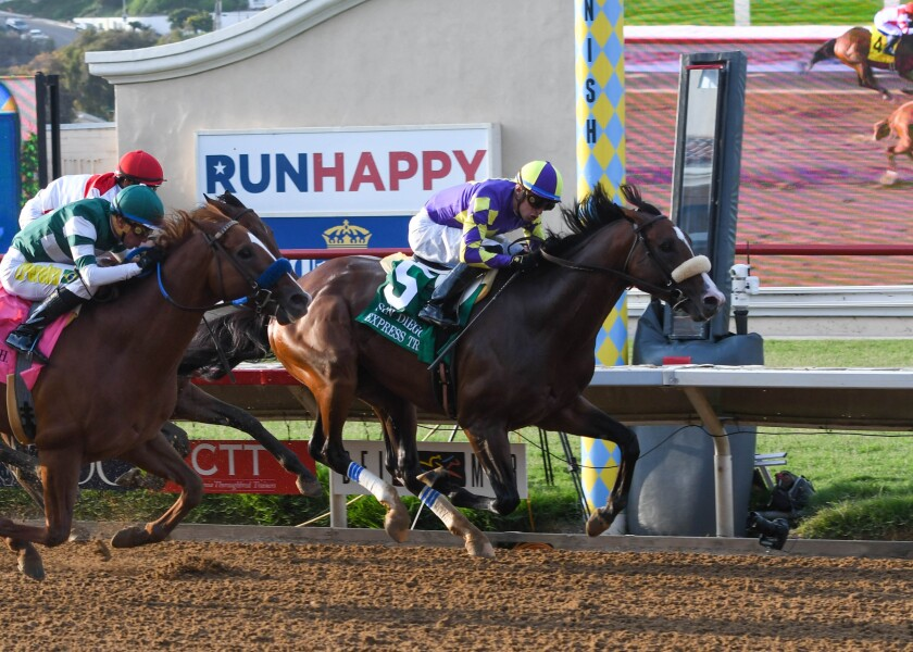 CRK Stable's Express Train leading Tripoli (outside) in the Grade II, $250,000 San Diego Handicap.