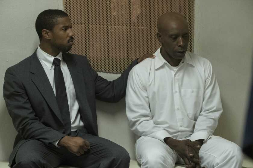 "Rob Morgan, right, plays death row inmate and Stevenson client Herbert Richardson in ""Just Mercy."""