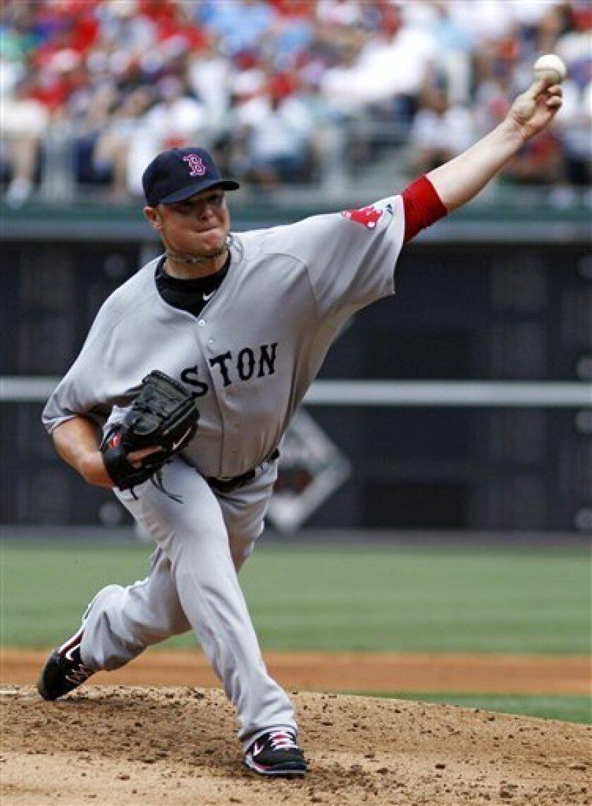 Boston Red Sox's Jon Lester pitches during the second inning of an interleague baseball game against the Philadelphia Phillies, Thursday, June 30, 2011, in Philadelphia. (AP Photo/Matt Slocum)