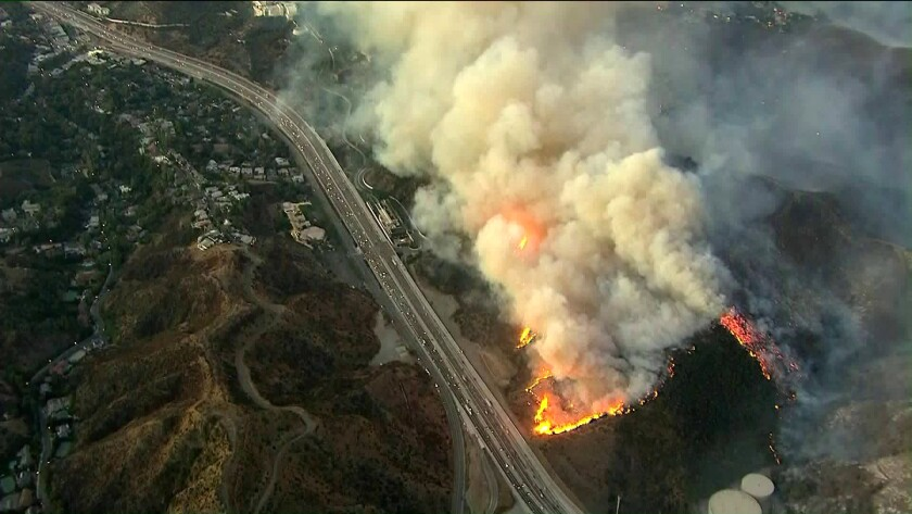 Getty fire seen from above