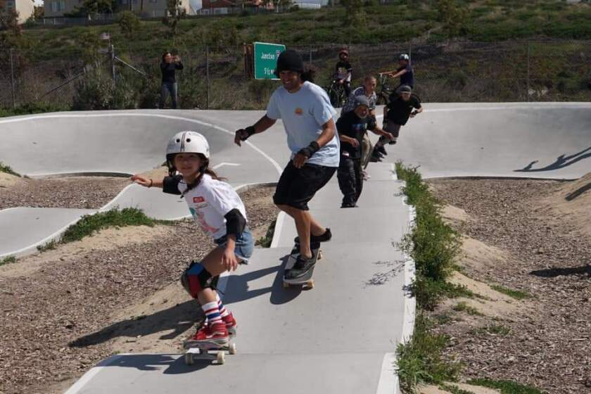 JoJo Yarbrough leads the way for Colin Cruise, Steve Caballero, Blake Sterger, and her dad Danny Yarbrough at the March 7 Skate Against ALS at the PHR pump track.