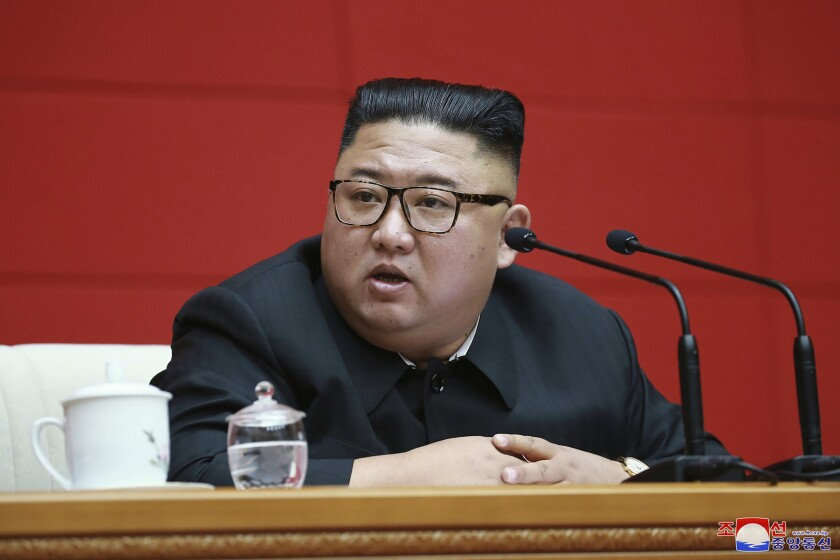"""FILE - In this Aug. 13 2020, file photo provided by the North Korean government, North Korean leader Kim Jong Un attends a ruling party meeting in Pyongyang, North Korea. North Korea will open a high-profile political conference on Wednesday, Aug. 19, 2020 to discuss unspecified """"crucial"""" crucial issues as it struggles to keep afloat a sanctions-ravaged economy hit further by a global pandemic and devastating flooding. Independent journalists were not given access to cover the event depicted in this image distributed by the North Korean government. The content of this image is as provided and cannot be independently verified. Korean language watermark on image as provided by source reads: """"KCNA"""" which is the abbreviation for Korean Central News Agency. (Korean Central News Agency/Korea News Service via AP)"""
