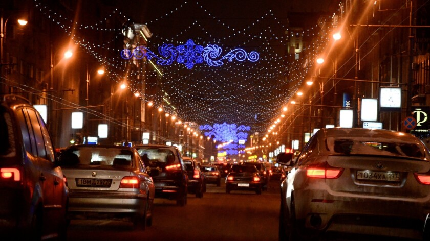 Traffic fills the streets of central Moscow on a winter night in early 2013. U.S. State Department figures show traffic accidents are a major cause of fatalities among U.S. citizens abroad.