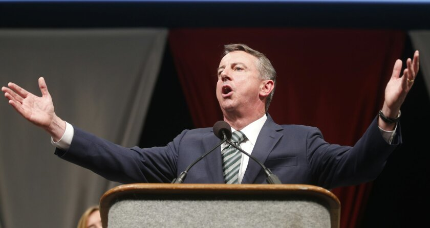 Republican senatorial candidate Ed Gillespie speaks to the crowd as he accepts the nomination at the Virginia GOP Convention in Roanoke, Va., Saturday, June 7, 2014. Gallespie will face Sen. Mark Warner in the fall election. (AP Photo/Steve Helber)