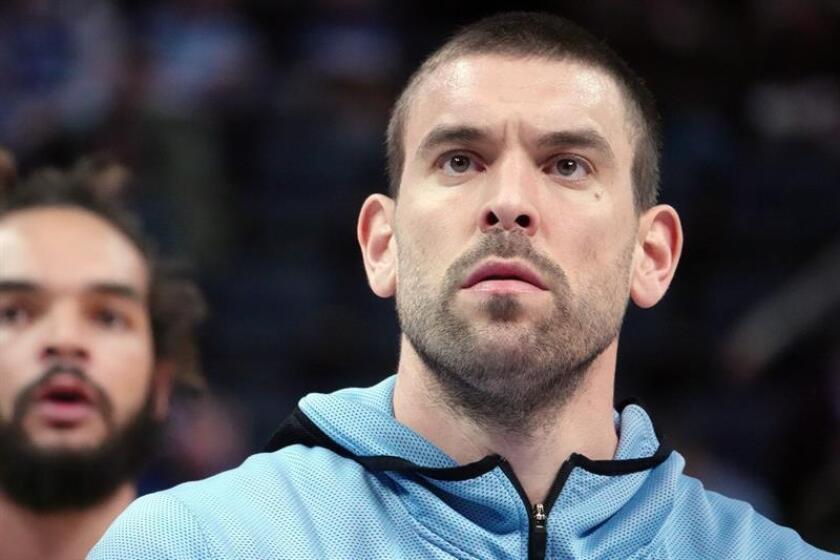 El jugador español Marc Gasol de los Memphis Grizzlies antes de un partido de baloncesto de la NBA. EFE/Archivo