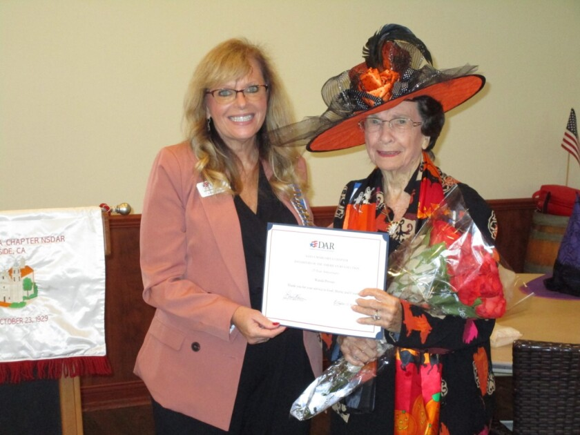 Wanda Prosser, honorary chapter regent of the Santa Margarita Chapter, Daughters of the American Revolution,