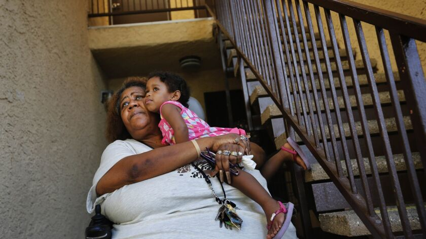 LOS ANGELES, CA Sept. 24, 2016 Patricia Richardson, in wheelchair, holds her Granddaughter, Daicee N