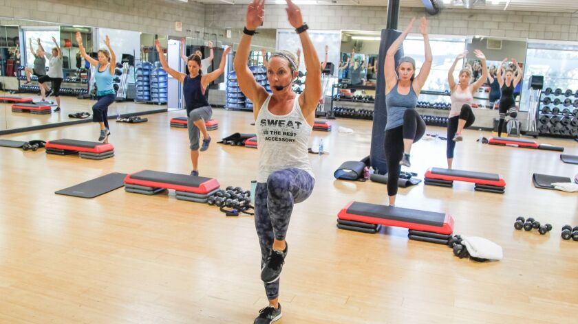 SAN DIEGO, CA October 18th, 2018 | Kristin Stehly leads her fitness class on Thursday at Fit Athleti