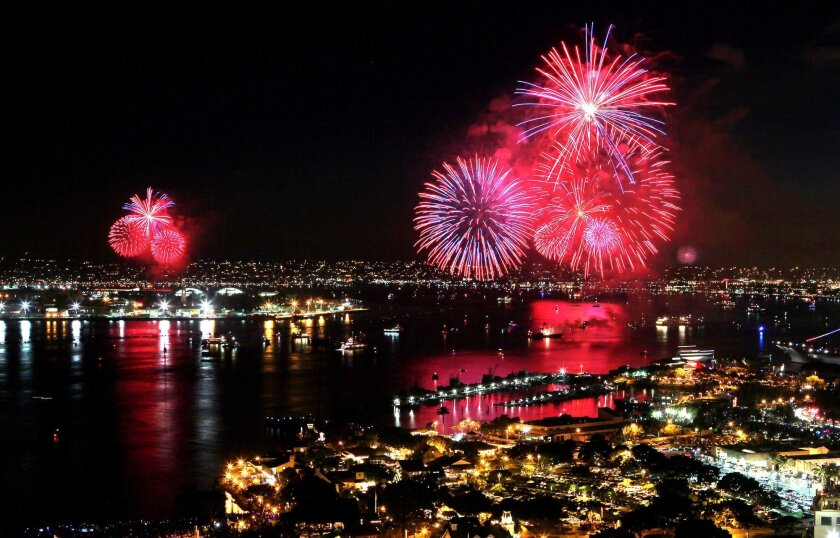 The Big Bay Boom fireworks display lights up San Diego Harbor in this view looking north from the roof of the 25 story South Tower of the Marriott Marquis Hotel on the bay.