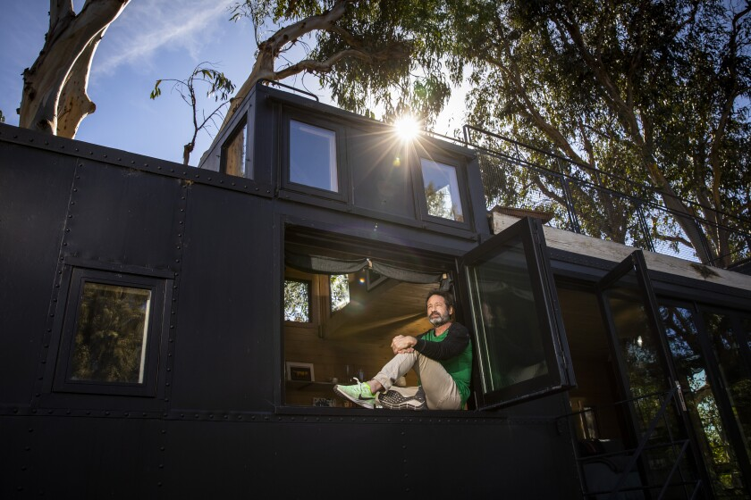 Actor and novelist David Duchovny in a converted train caboose on his Malibu property.