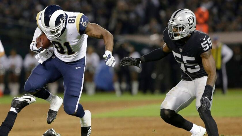 Rams tight end Gerald Everett had four catches for 30 yards against the Raiders on Saturday at the O