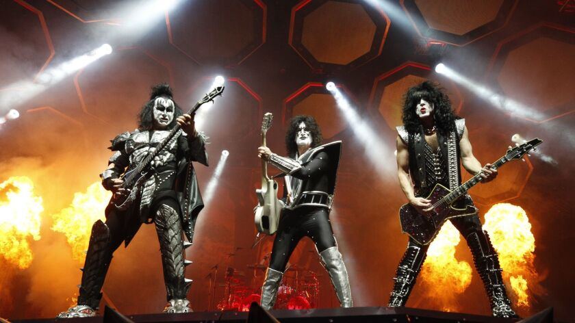 SAN DIEGO, February 7, 2019 | Kiss band members, from left, Gene Simmons, Tommy Thayer, and Paul Sta