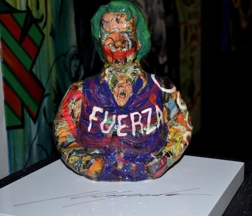 """Fotografía cedida por Cabephoto donde se muestra la obra """"Joker Urban Design"""", del artista JC Cepeda. El artista plástico colombiano JC Cepeda expone en Miami una muestra que refleja el movimiento artístico que está desarrollando mediante la fusión de diversas técnicas y en el que el modernismo no es sinónimo de romper las """"leyes"""" estéticas. EFE/Cortesía Cabephoto/SOLO USO EDITORIAL/NO VENTAS"""