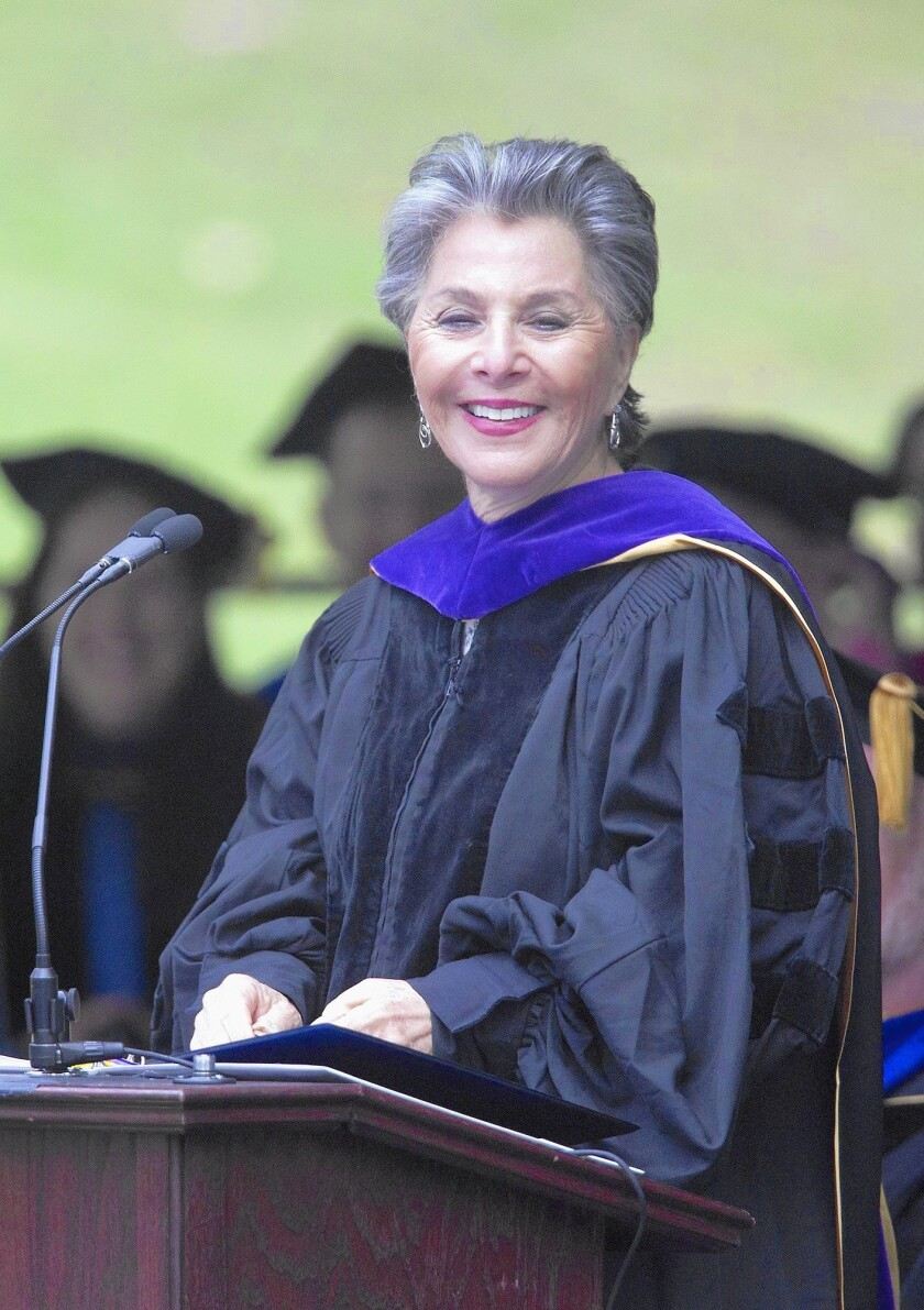 U.S. Sen. Barbara Boxer speaks during UC Irvine's School of Law graduation ceremony on Saturday morning at Aldrich Park in Irvine.