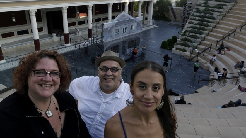 "Luis Alfaro at the Getty Villa with Jessica Kubzansky, left, who is directing his ""Mojada: A Medea in Los Angeles,"" and Sabrina Zuniga Varela, who is starring in it."