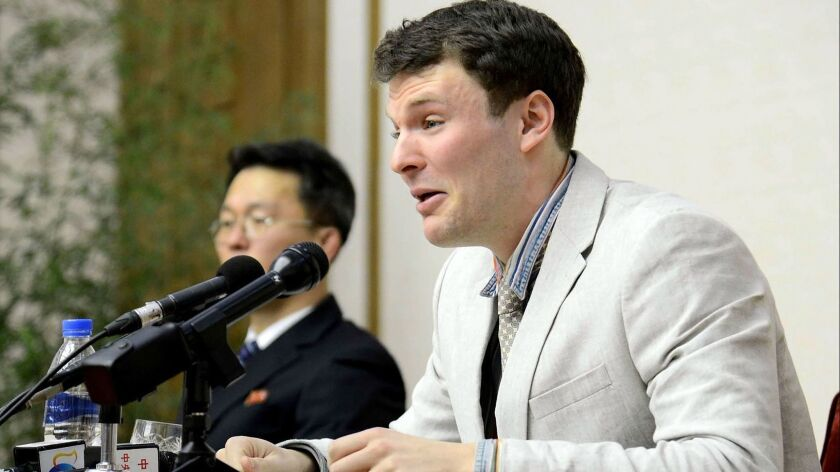 Student Otto Warmbier speaks at a news conference in Pyongyang, North Korea, in 2016.