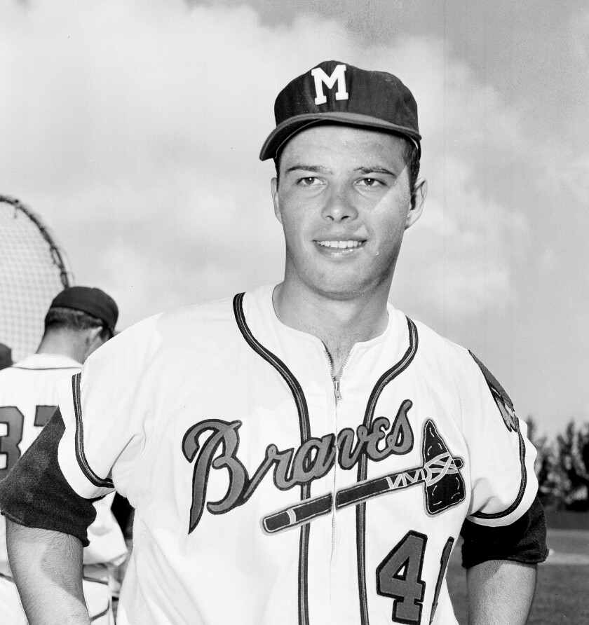 Eddie Mathews of the Milwaukee Braves is pictured at spring training in Bradenton, Fla., in March 1956.