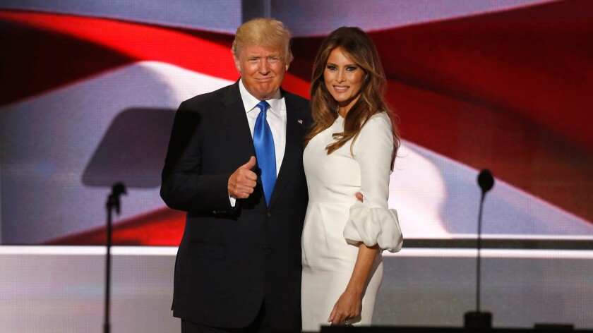 Donald Trump and his wife, Melania, appear together Monday on the first night of the Republican National Convention in Cleveland.