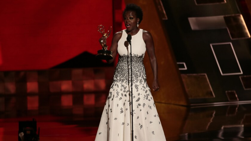 """Viola Davis, star of ABC's """"How to Get Away With Murder,"""" made history as the first African American to win the prize for best actress in a drama series."""