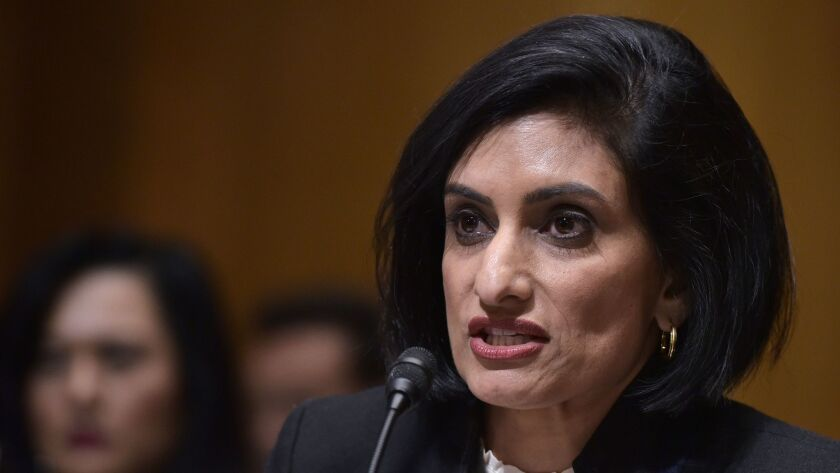 Seema Verma testifies before the Senate Finance Committee on her nomination to be the administrator of the Centers for Medicare and Medicaid Services.