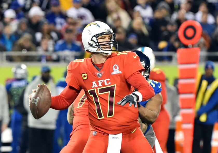 Chargrs quarterback Philip Rivers throws a pass against the NFC during the second half at the 2017 Pro Bowl at Citrus Bowl on Jan. 29, 2017.