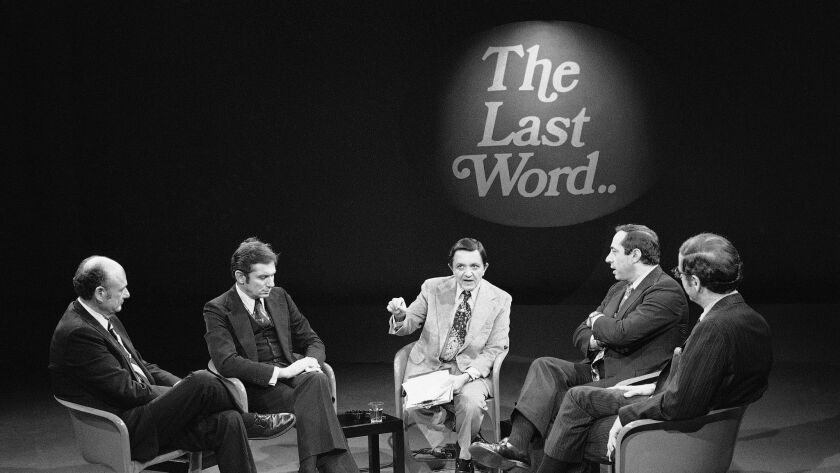 Gabe Pressman, center, hosts a televised New York mayoral debate with candidates Edward Koch, far left, Barry Farber, second from left, Mario Cuomo, second from right, and Roy Goodman on Nov. 8, 1977.