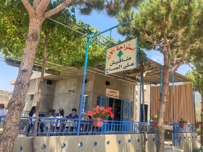 The patio of Cedars Resthouse in Maaser El Chouf.