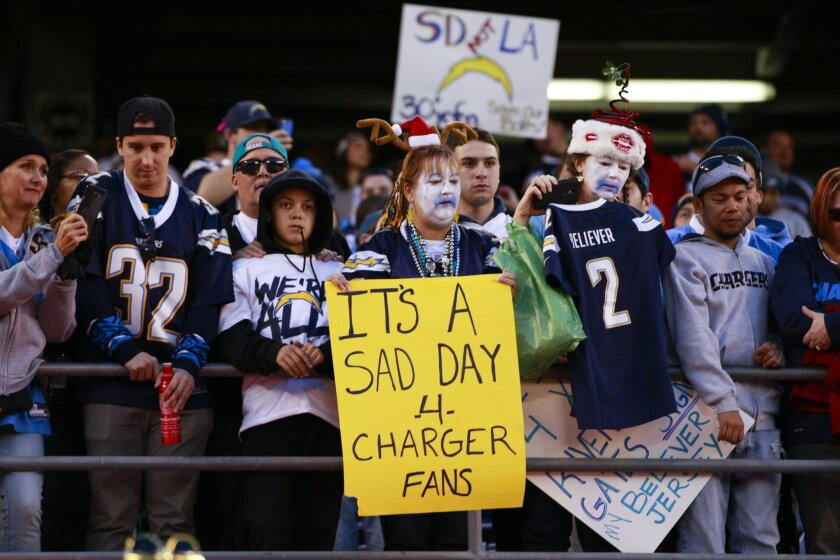 Chargers fans stayed on the field at Qualcomm Stadium Sunday night hoping to see players return back on to the field.